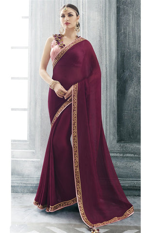 Purple Chiffon Lace Border Saree With Designer Blouse Fabric