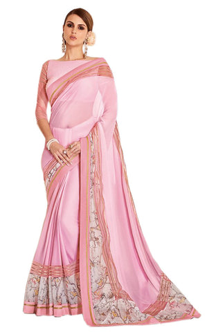 Pink Fancy Party Wear Georgette Printed Saree With Blouse Fabric