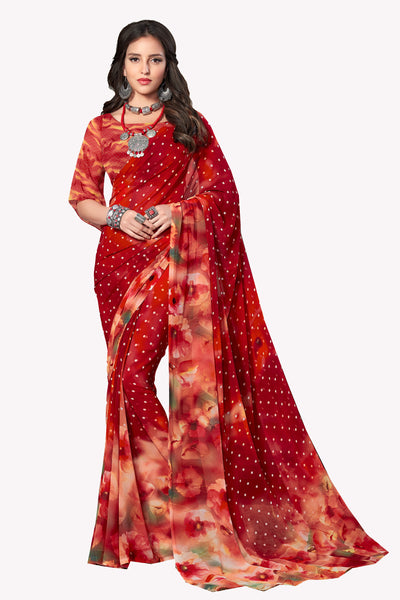 Red Georgette Printed Saree With Blouse Fabric