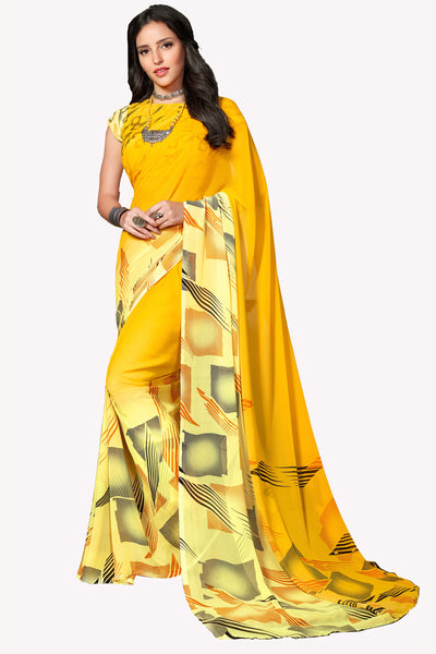 Yellow Georgette Printed Saree With Blouse Fabric