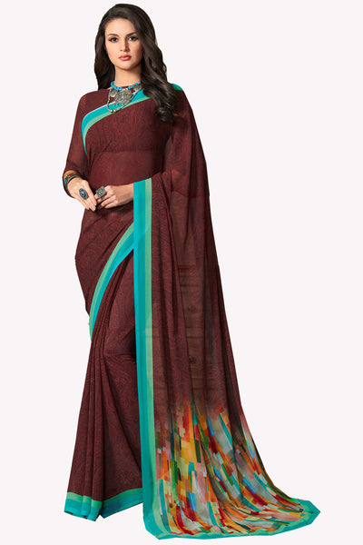 Brown Georgette Printed Saree With Blouse Fabric