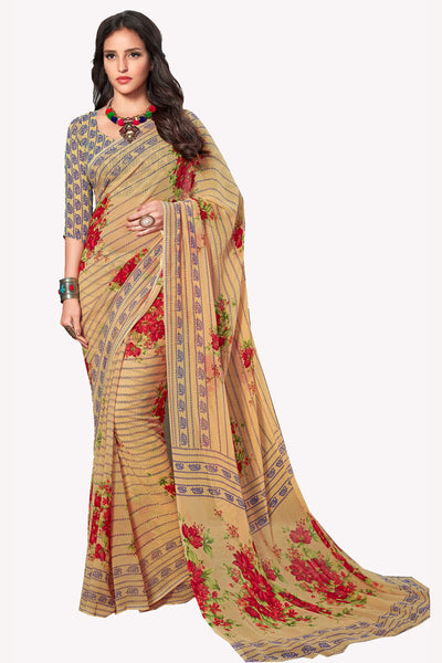 Beige Georgette Printed Saree With Blouse Fabric