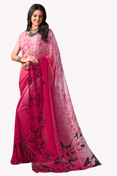 Pink Georgette Printed Saree With Blouse Fabric