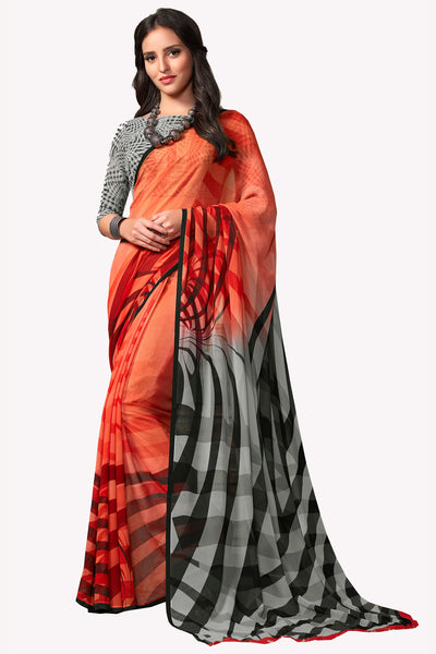 Orange Georgette Printed Saree With Blouse Fabric