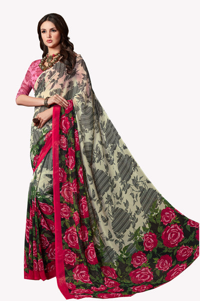 Multicolor Georgette Printed Saree With Blouse Fabric