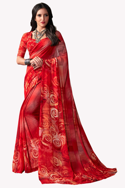 Orange Red Georgette Printed Saree With Blouse Fabric