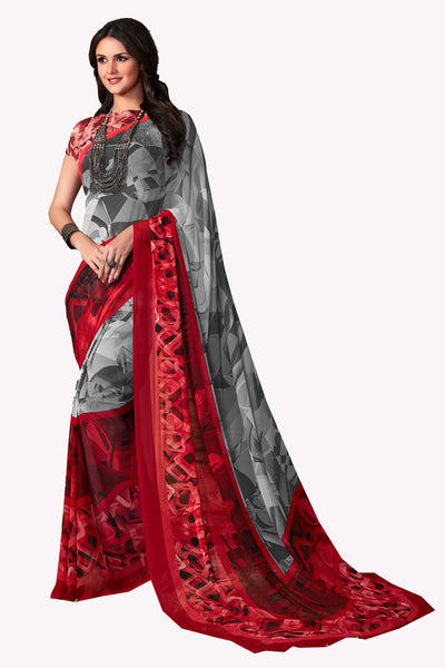 Grey Red Georgette Printed Saree With Blouse Fabric