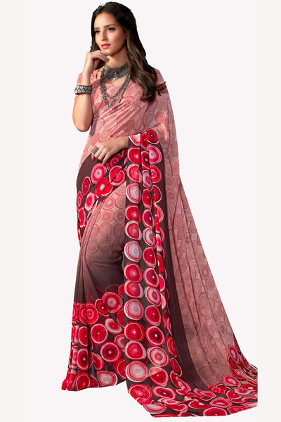 Peach Georgette Printed Saree With Blouse Fabric