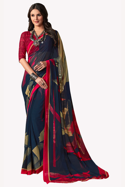 Navy Blue Georgette Printed Saree With Blouse Fabric