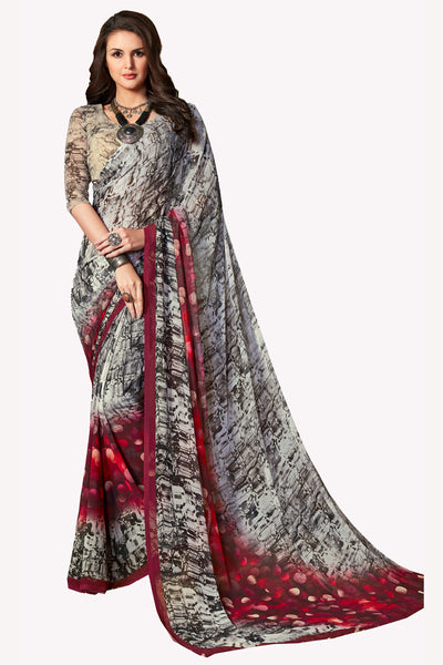 Grey Georgette Printed Saree With Blouse Fabric