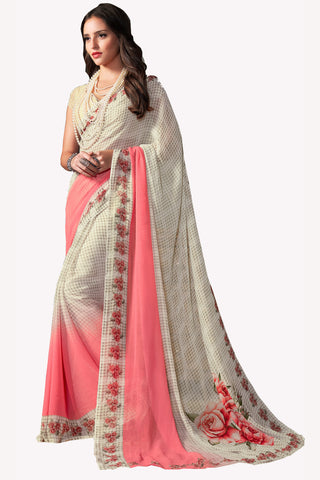 Cream Georgette Printed Saree With Blouse Fabric