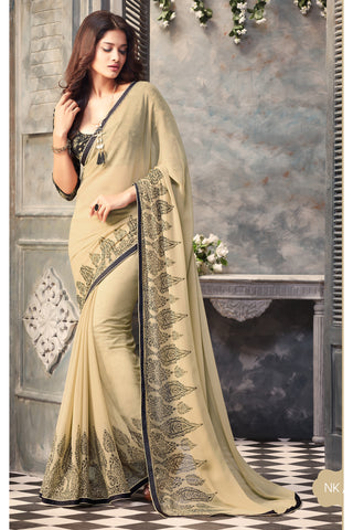 Beige Georgette Printed Lace Border Saree With Blouse Fabric