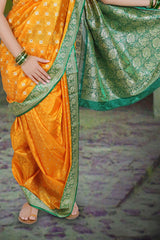 Stitched Women Yellow Green Poly Cotton Zari Work Nauvari Ready To Wear Saree