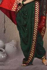 Stitched Women Green Red Poly Cotton Zari Work Nauvari Ready To Wear Saree
