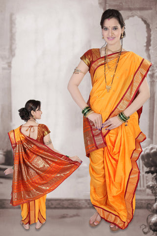 Stitched Women Yellow Red Poly Cotton Zari Work Nauvari Ready To Wear Saree