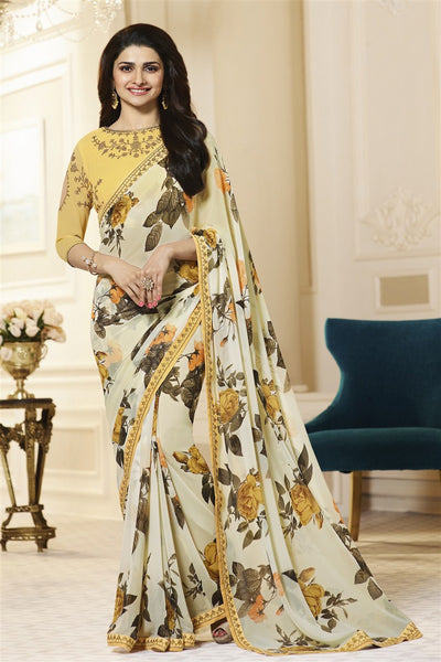 Yellow Georgette Printed Lace Border Latest Fashion Saree With Designer Blouse Fabric