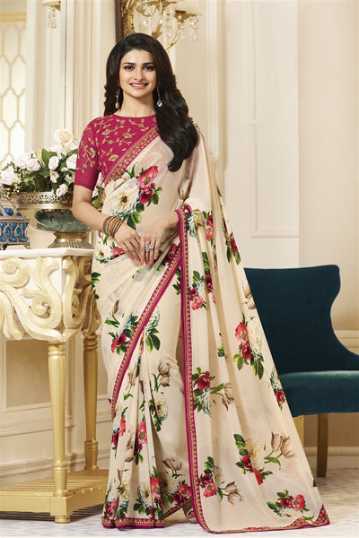 Georgette Printed Lace Border Latest Fashion Saree With Designer Blouse Fabric