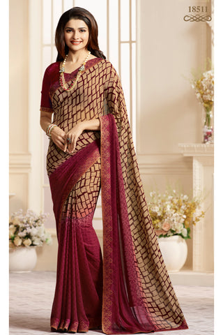 Beige Maroon Georgette Printed Lace Border Saree With Blouse Fabric
