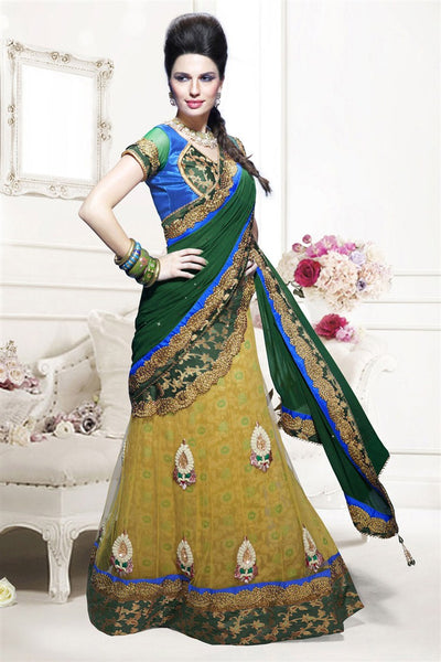Yellow Green Net Heavy Embroidered Semi Stitched Lehenga Choli