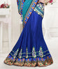 Blue Net Satin Heavy Embroidered Semi Stitched Lehenga Choli