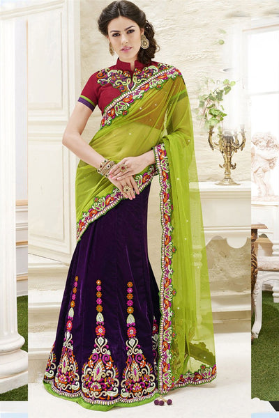 Purple Green Velvet Satin Heavy Embroidered Semi Stitched Lehenga Choli
