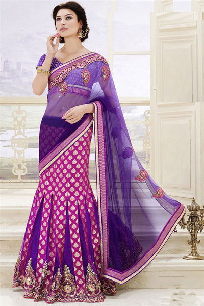 Pink Purple Art Silk Jacquard Heavy Embroidered Semi Stitched Lehenga Choli