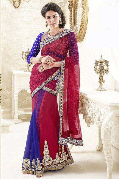 Red Blue Net Heavy Embroidered Semi Stitched Lehenga Choli
