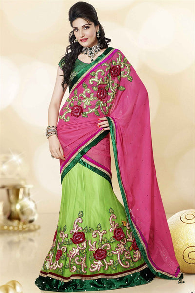 Green Pink Net Satin Heavy Embroidered Semi Stitched Lehenga Choli