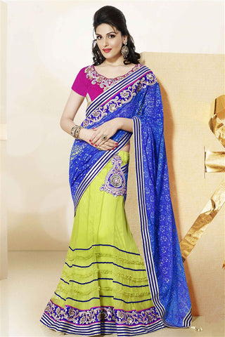 Green Blue Net Satin Heavy Embroidered Semi Stitched Lehenga Choli