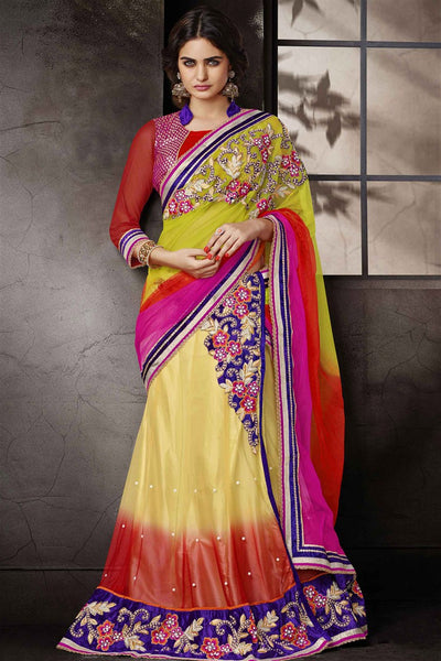 Multicolor Net Heavy Embroidered Semi Stitched Lehenga Choli