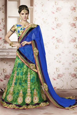 Green Blue Net Heavy Embroidered Semi Stitched Lehenga Choli