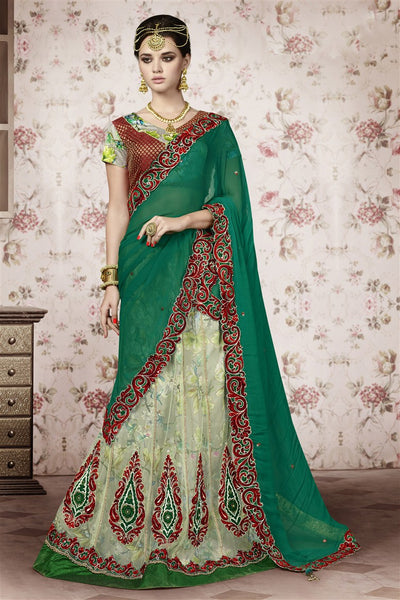 Cream Green Net Heavy Embroidered Semi Stitched Lehenga Choli