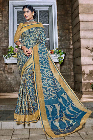 Blue Beige Handloom Banarasi Silk Woven Saree With Blouse Fabric
