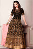 Brown Art Silk Zari Embroidered Stone Work Semistitched Anarkali Suit