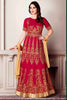 Pink Georgette Zari Embroidered Stone Work Semistitched Anarkali Suit