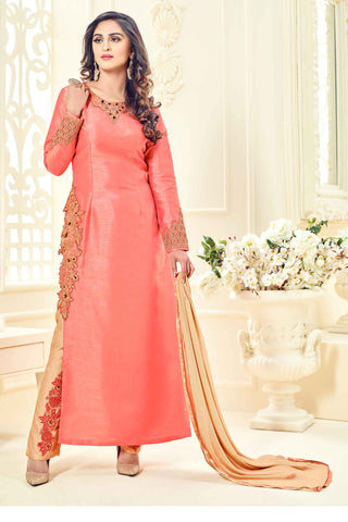 Peach Banglori Silk Embroidered With Diamond Semistitched Designer Suit