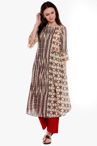 Cream Brown Pure Cotton Printed Party Wear Kurti
