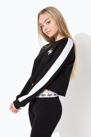 HYPE BLACK SIDE STRIPE KIDS CROP CREWNECK