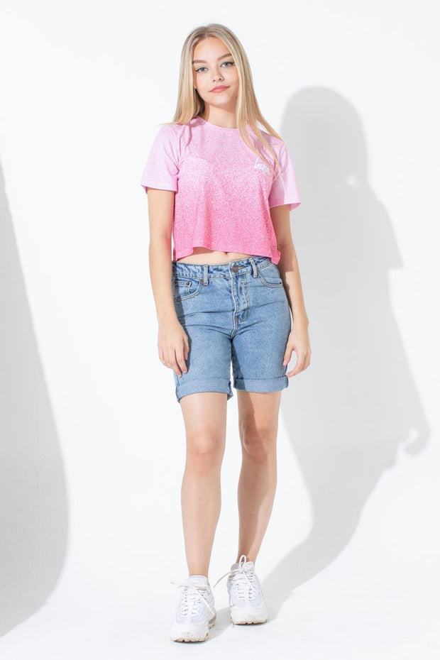 HYPE PINK WHITE SPECKLE FADE KIDS CROP T-SHIRT