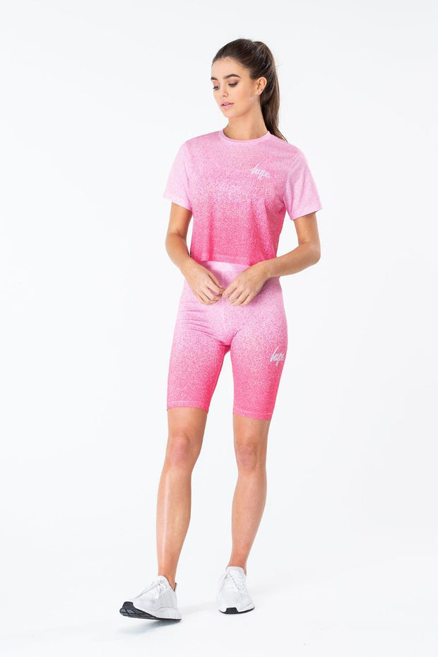 HYPE PINK SPECKLE FADE WOMEN'S CROP T-SHIRT