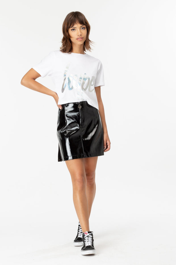 HYPE WHITE IRIDESCENT SCRIPT WOMEN'S CROP T-SHIRT