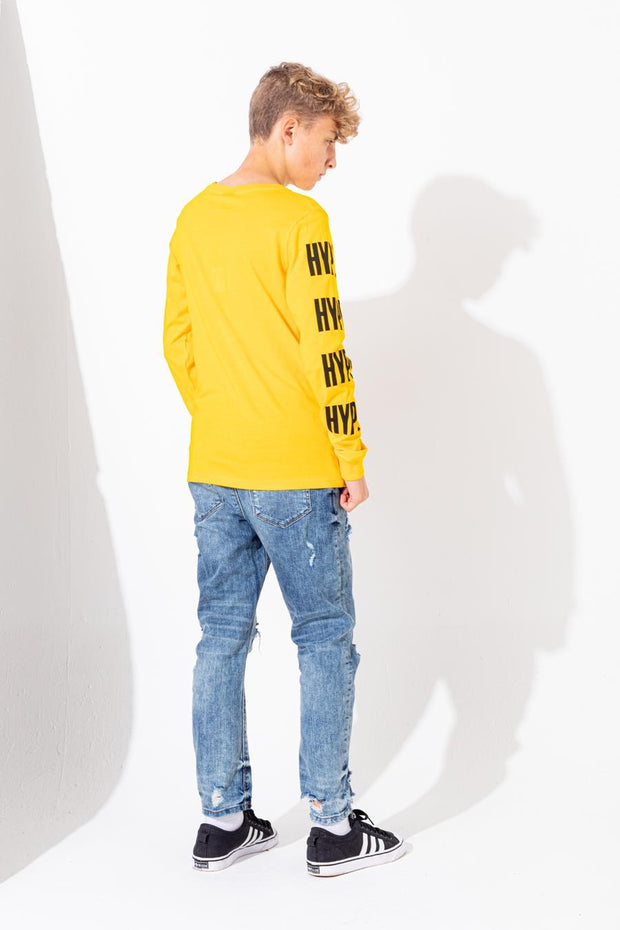 HYPE YELLOW BLOCK SLEEVE KIDS L/S T-SHIRT