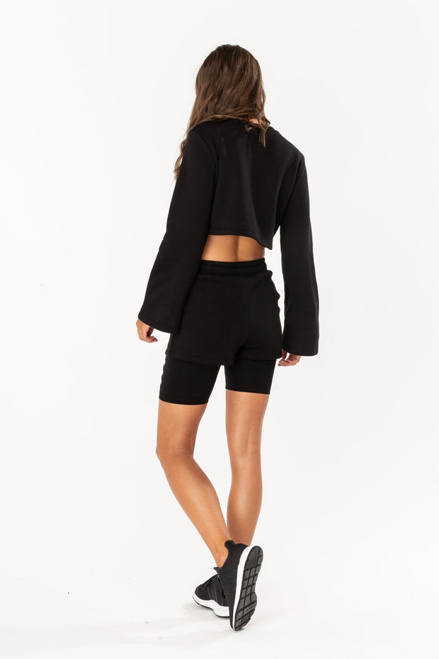 Hype Black Flared Women's Crop Crew