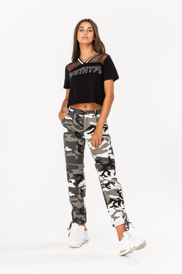 Hype Black/White Mesh Sports Women's Crop Top