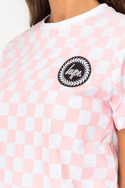 Hype Pink/White Checkerboard Women's T-Shirt