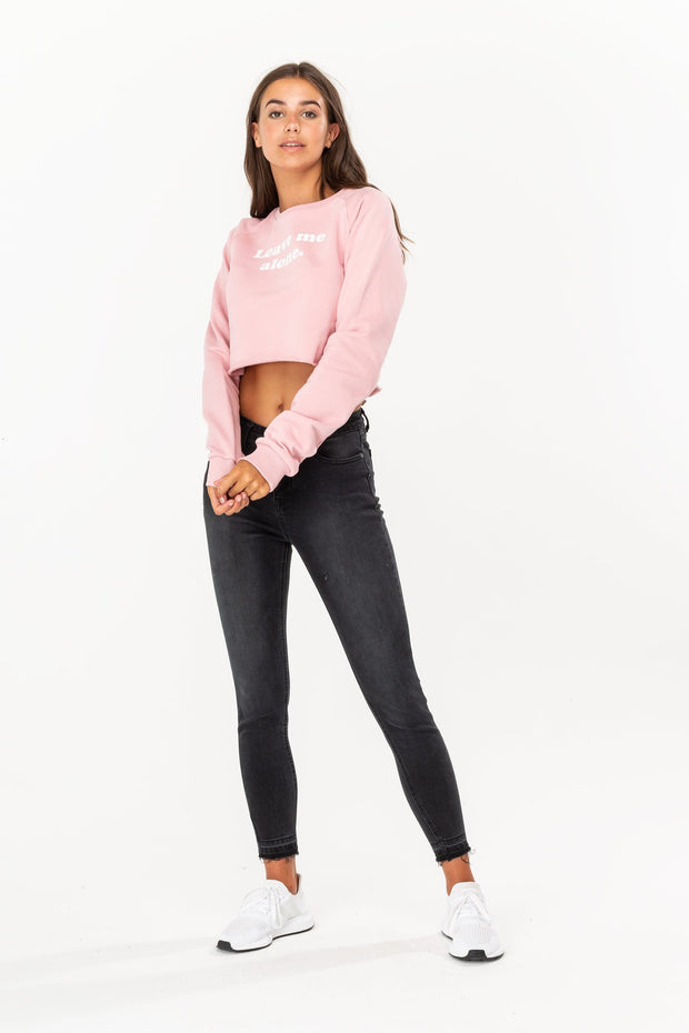 Hype Pink Leave Me Women's Crop Crew
