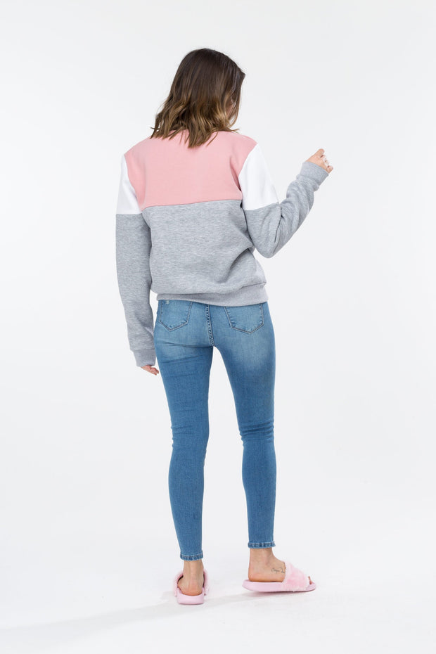 Hype Pink/Grey Sporting Panel Women's Crewneck