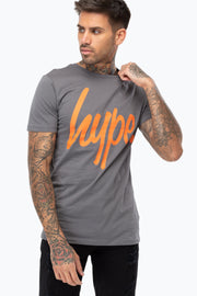 Hype Grey/Orange Script Men's T-Shirt