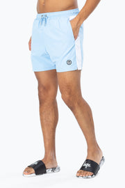 Hype Sky Blue/White Side Stripe Crest Men's Swim Shorts