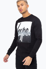 Hype Black/White Speckle Box Script Men's Crewneck